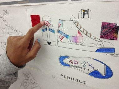 The Pensole student roster included D'On Edwards, 13-year-old daughter of school founder D'Wayne Edwards. D'On Edwards, a student at Horizon Christian School in Tualatin, points out the inspirations from her family that she blended into her shoe design.
