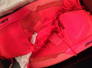 """This version of the Air Yeezy shoe, dubbed the """"Red October,"""" has not been released by Nike, to West's dismay. The photo is from the Sneaker News."""