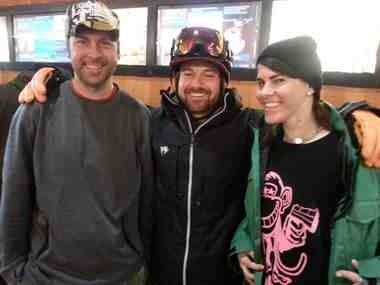 Only the heartiest skiers and snowboarders ventured to the Timberline ski and snowboard area on Sunday. That included, from left, snowboarders Josh Zawasky, Ben Beavon and Destiny Covington.
