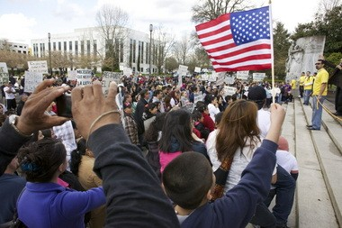 Hundreds showed up at the Capitol in April 2011 to advocate for the rollback of identification requirements for driver's licenses. The issue is one of several that the Oregon Health Equity Alliance will advocate for during this year's legislative session. A new political action committee has also formed to promote racial equity in Oregon.