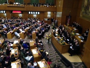 Gov. John Kitzhaber delivered his State of the State address before a joint session of the 77th Oregon Legislature Monday, the first of three organizing days.