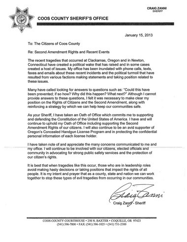 Here's the letter Coos County Sheriff Craig Zanni sent to county residents on gun control.