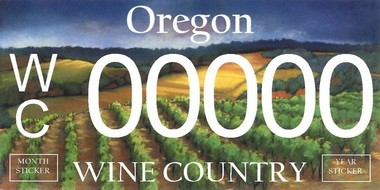 """Special """"wine country"""" plates could have alcohol references, under a bill introduced at the Oregon Legislature."""