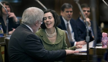 Kate Brown, then running for secretary of state, passes the mantle of majority leader to Sen. Richard Devlin, D-Tualatin, before a 2008 special legislative session.