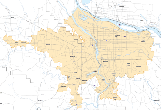 The Portland-area urban growth boundary as of September 2015. Gov. Kate Brown has proposed using the boundary as a dividing line for Portland the rest of the state on the minimum wage.