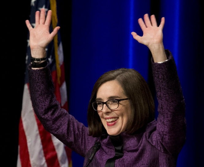 Oregon Governor Kate Brown at the Democratic Party of Oregon election night gathering at the Oregon Convention Center, Nov. 8, 2016.