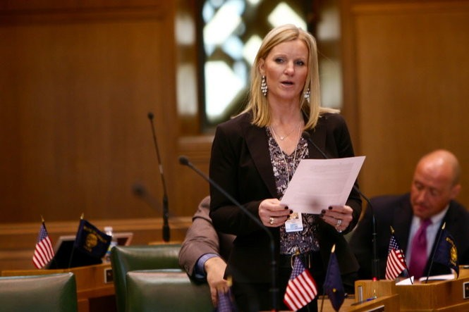 Rep. Jodi Hack, R-Salem, speaks against one bill's approach to raising the minimum wage Feb. 18, 2016. This year, Hack is pushing a bill that would establish a pre-tax savings account for family and medical leave.
