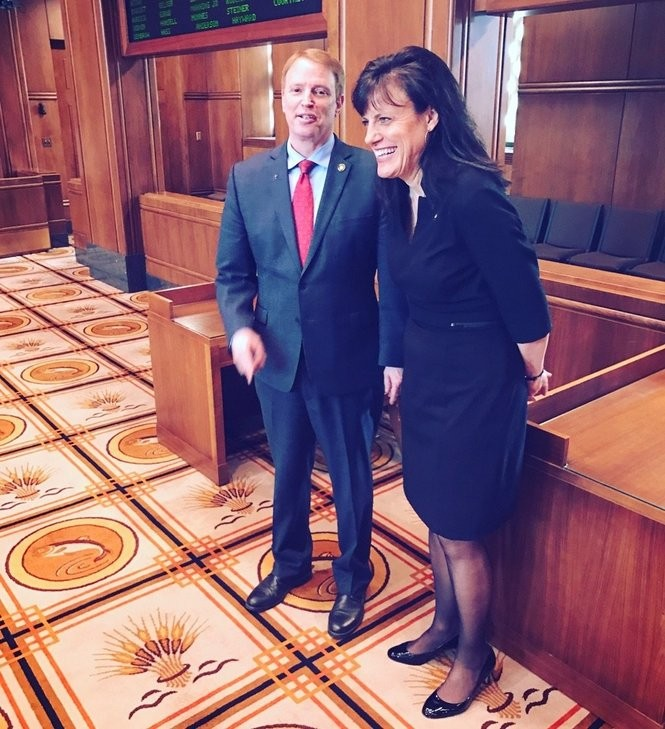 Sen. Tim Knopp, R-Bend, and Sen. Kathleen Taylor, D-Portland, on Wednesday, May 17, after the Oregon Equal Pay Act of 2017 passes unanimously in the Senate.