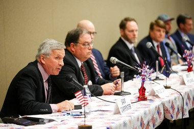 Republican gubernatorial candidate Sam Carpenter answers a question at a debate hosted by Oregon Women for Trump on Sunday, March 25, 2018, at the Keizer Community Center.
