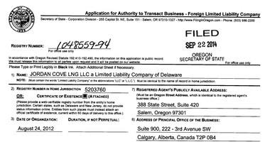Jordan Cove LNG's business registration in Oregon.