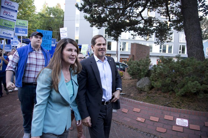 Republican candidate for governor Rep. Knute Buehler and his wife Patty arrived at KGW studios in Portland last week before the start of a debate hosted by KGW(8) and The Oregonian/OregonLive.