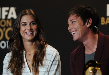 Alex Morgan (left) of the Portland Thorns and Abby Wambach, nominees for the FIFA Women's World Soccer Player of the Year Award, joke at a press conference during the FIFA Ballon d'Or Gala 2013 held at the Kongresshaus in Zurich, Switzerland, on Jan. 7. Wambach won the award.