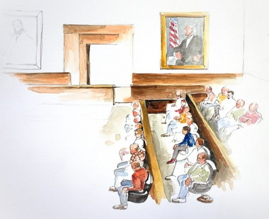 Jury selection during the opening day of U.S. v. Mohamed Osman Mohamud in federal court in Portland.