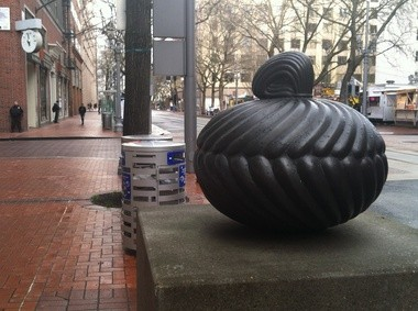 """Floribunda"" by Mark Calderon is on the bus mall at Southwest Fifth Avenue and Stark Street. It was inspired by the hairstyles found in Japanese Buddhist sculpture of the 12th and 13th centuries. The piece was paid for by Trimet."