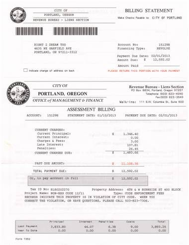 Right 2 Dream Too today sent out this scan of their $12,000-plus bill from the city of Portland.