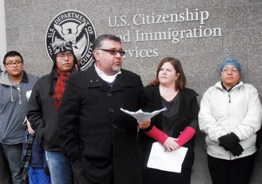 Francisco Lopez, executive director of Causa, the heavily Latino immigrant rights group based in Salem, gives an opening speech during the Keeping Families Together campaign launch. The event, which was held in favor of immigration reform, took place Tuesday morning at U.S. Citizenship and Immigration Services in Northwest Portland.