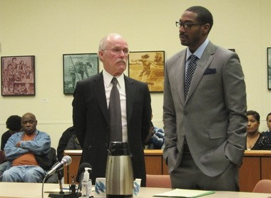 Kevin Charles Moffett with his lawyer, Stephen Houze, in court Wednesday.