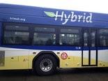 The hybrid buses began running on Line 72 on Thursday.
