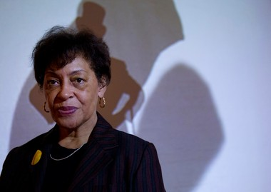 """Artist Carrie Mae Weems tours two floors of her new exhibit """"Carrie Mae Weems: Three Decades of Photography and Video,"""" at the Portland Art Museum through May 19. Weems says she adds text and video to her photographs to add layers of her voice to the pieces, ranging from profound to funny."""