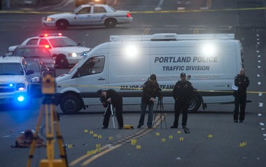 Portland police at the scene of a fatal hit-and-run crash on Southeast Holgate Boulevard in early February.