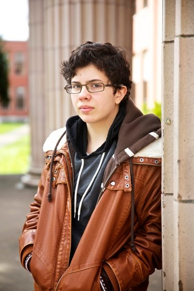 """Scott Morrison, 17, a transgendered student at Grant High School, would refrain from drinking water during his school day because using the bathroom was so stressful. He says the conversion of six bathrooms at the Northeast Portland school is a """"godsend."""""""