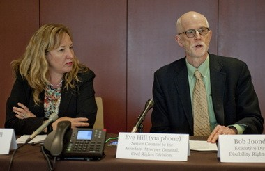 Oregon U.S. Attorney Amanda Marshall, with Bob Joondeph, executive director of Disability Rights Oregon, at a news conference earlier this month. The U.S. Department of Justice and plaintiffs represented by Joondeph sued the state, alleging violations of the Americans with Disabilities Act.