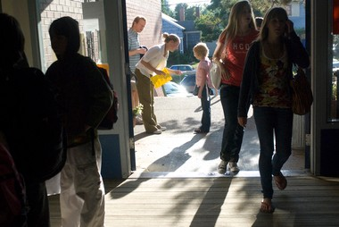 Students walk into the Fernwood campus of Beverly Cleary School in 2008, the first year the school operated as a dual campus. The school could see big changes next year, as district officials weigh moving students from its Hollyrood campus to Rose City Park.