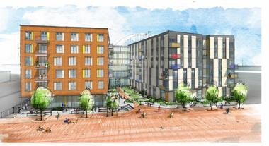 A rendering for Abigail Apartments, an affordable and market-rate apartment building in development, will be the Pearl District's seventh affordable housing apartment.