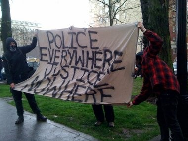 Among the protestors at the downtown anti-police demonstration in March 2010.