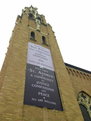 "St. Andrew Catholic Church proclaims that ""All are welcome"" in the parish, which has a longtime commitment to including people, regardless of their sexual orientation."