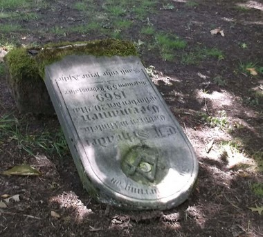 The gravestone of E.F. Schrader, one of Portland's early beer pioneers, was toppled by vandals Friday night or early Saturday morning.
