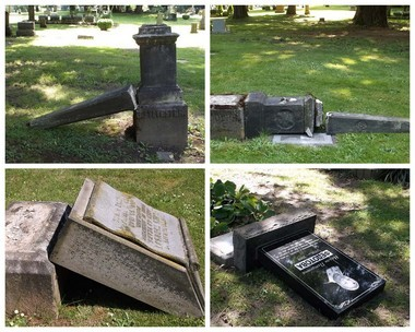 Some of the numerous headstones toppled or damaged by vandals at Lone Fir Cemetery in Southeast Portland.
