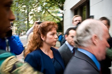 Terri Moulton Horman, arriving to Multnomah County Courthouse in 2010 for a hearing on divorce proceedings with her husband, Kaine Horman. She is the stepmother of Kyron Horman, who went missing June 4, 2010 from Skyline School.