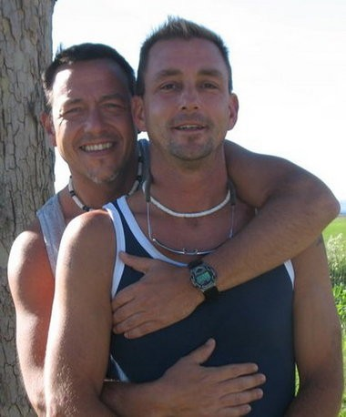 "Gary Cash (left) says this is his ""first and most favorite photo"" of himself and his partner, Steve Mann."