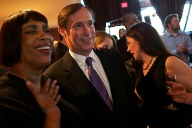 City Commissioner Dan Saltzman, seen here celebrating his 2010 campaign victory, says he'll run for a fifth term in 2014.