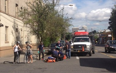 The bicyclist sustained non-life threatening injuries.