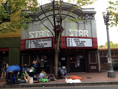 People sitting in front of Star Theater deter potential customers, says Paul Park, co-owner of the music venue. Owners were going to open up the back patio for daytime customers, but decided not to with the campers staying in front of the businesses.
