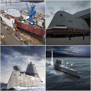 The USS Zumwalt, clockwise from upper left, under construction at the Bath Iron works; the deckhouse before being added to the ship; and two artists renderings of the ship in action and at sea.