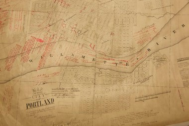 An 1866 plat map of Portland includes handwritten updates through to the 1980s.