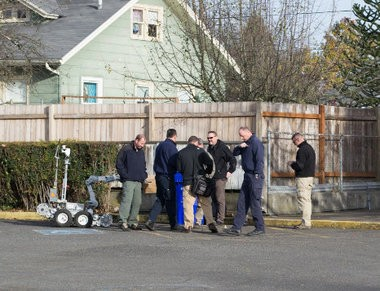 Members of the Metro bomb squad detonated a small improvised explosive device outside the Montavilla United Methodist Church, located at 232 Southeast 80th Avenue, Tuesday morning. The ATF and FBI, along with arson investigators with the Portland Fire Bureau, are investigating.