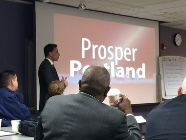 "Portland Police Chief Mike Reese introduces his idea for ""Prosper Portland,"" a new initiative to work with homeless people in downtown Portland."