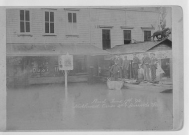In the flood of 1894, Erickson's Saloon served customers from a barge.