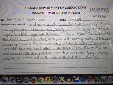 The handwritten note that Richard Gillmore sent to the state Board of Parole and Post-Prison Supervision. He said he didn't plan to participate in his April 9 parole hearing.