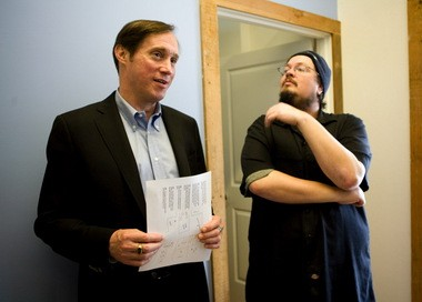 City Commissioner Dan Saltzman speaking with Street Roots executive director Israel Bayer during Saltzman's 2010 campaign.