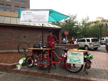 The Bespoke bike, photographed here in O'Bryant Square on Sept. 22, 2014, was custom designed by Tom's Cargo Bikes.