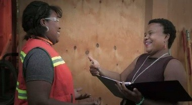 Roberta Hunte (right) worked as a career counselor at Oregon Tradeswomen, Inc.