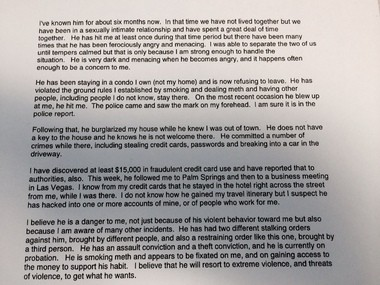 The statement that Terry P. Bean included in his petition for a restraining order this spring against Kiah L. Lawson.