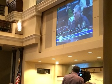 Portland police Lt. John Scruggs on Wednesday, Dec. 10, 2014, answered questions from city commissioners on the Police Bureau's efforts to equip officers with body cameras.