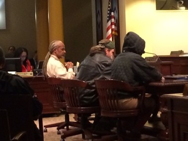 Michael Alexander, president and chief executive officer of the Urban League of Portland (far left) , told the City Council that the police-worn cameras should be part of the Portland Police Bureau, provided stringent safeguards and guidelines are adopted for their use.