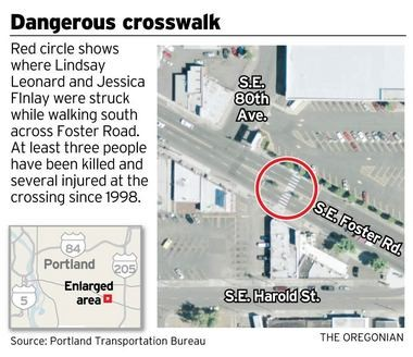 The estate of Lindsay Leonard contends that the crosswalk pictured here was -- at the time of Leonard's death -- more faded than it appears in this overhead photo.